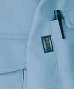 「帯電防止」ポイントネーム&左袖ポケットペン差し付。袖ポケットにカード用のポケットがついて便利。