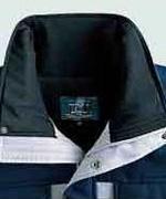 襟部分に起毛トリコットを使用し、保温性アップ
